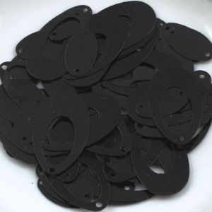 Sequins, black, 1.3cm x 2.2cm, 100 pieces, 4g, Flat oval, Sequins are NOT shiny, [CZP077]